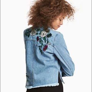 embroidered denim jacket denim size 2
